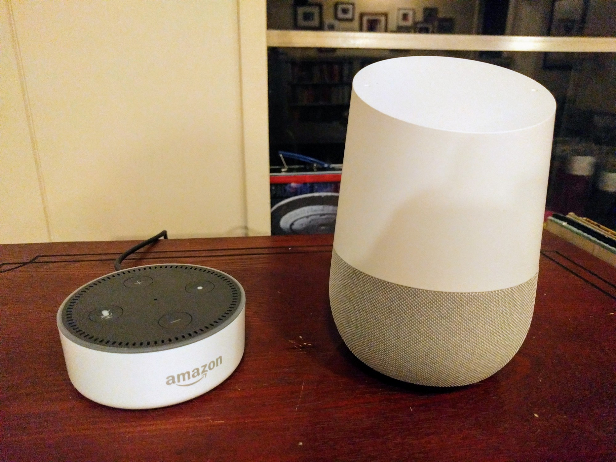 google home vs amazon echo dot dad in a smart home. Black Bedroom Furniture Sets. Home Design Ideas